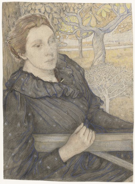 Henriette Roland Holst in a garden in Noordwijk in 1893, portrait by her husband Richard